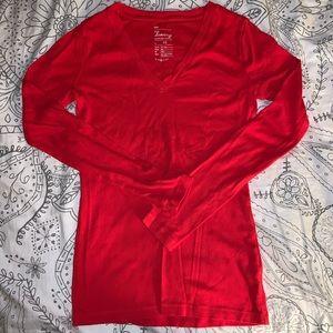 Gap Red Long Sleeve Tee Shirt